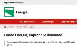 Fondo Energia Emilia Romagna, riaprono le domande. Richieste fino al 26 luglio