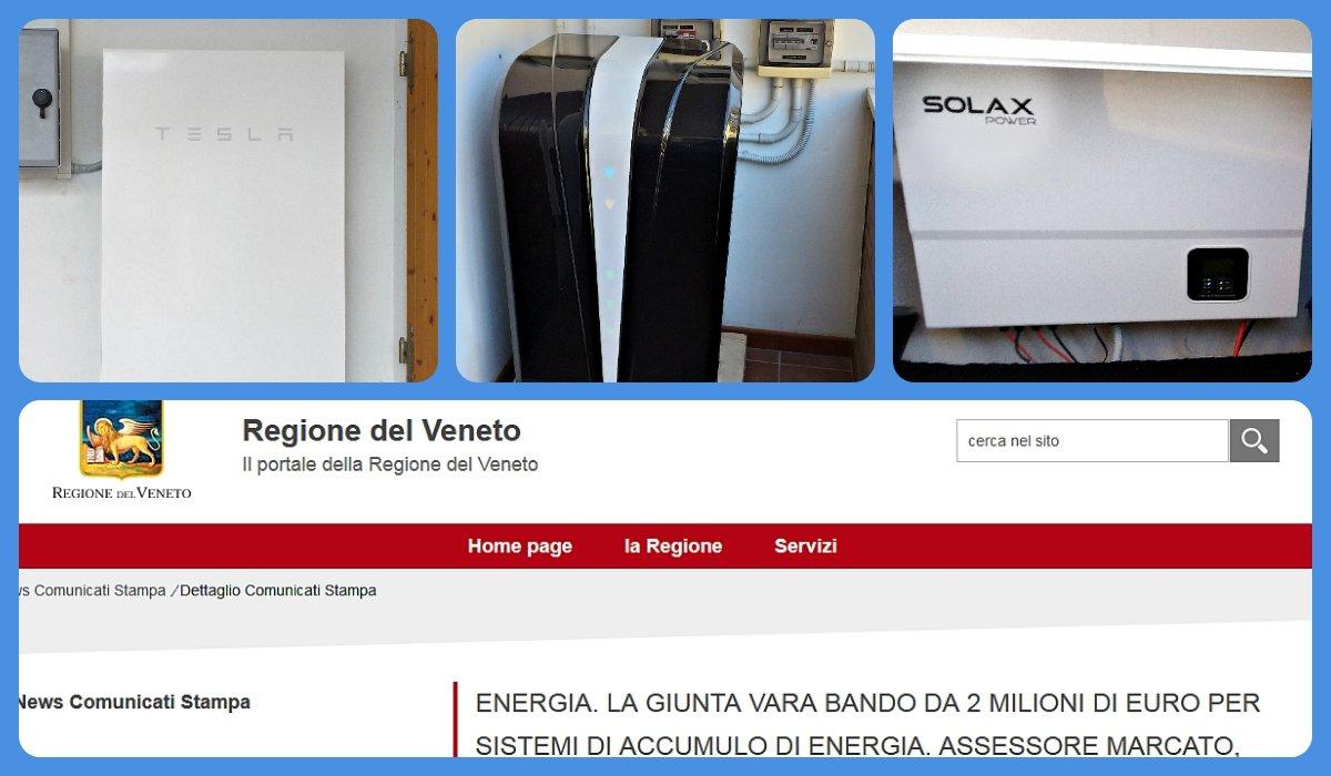 Regione Veneto: contributi a fondo perduto per i sistemi d'accumulo