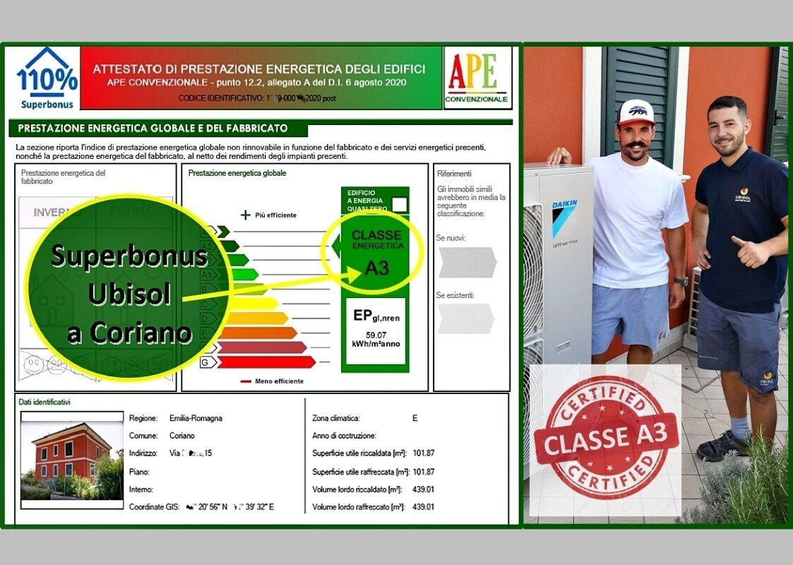 CLASSE A3 CON IL SUPERBONUS PER LA CASA A CORIANO